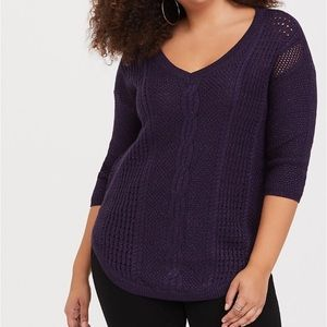 Torrid purple lurex pointelle sweater size 1 (1X)